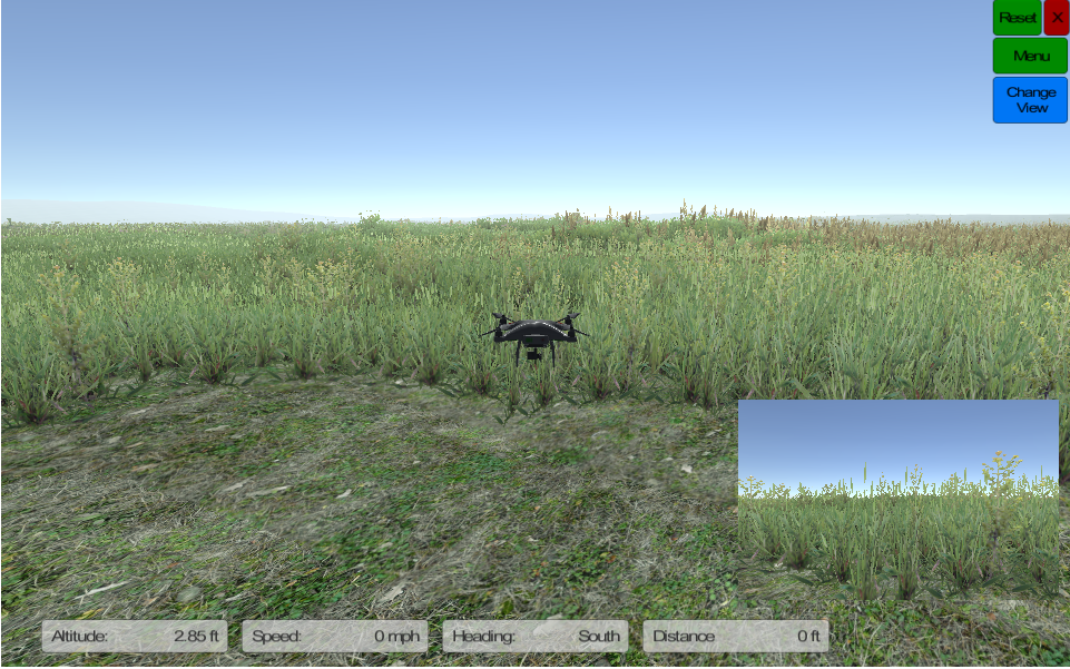 Open fielf in drone simulator